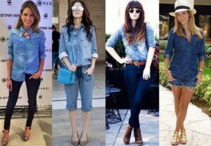 08680603d9 Camisa e calça jeans e maxi colar. Camisa jeans com bermuda e bolsa azul.